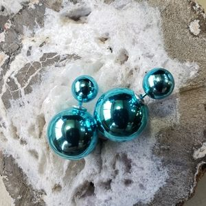 Turquoise Blue Double Pearl Bead Silver Earrings